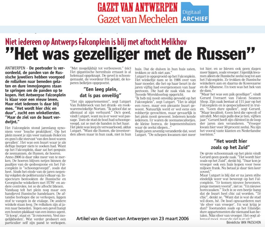 Artikel uit de Gazet van Antwerpen van 23 maart 2006