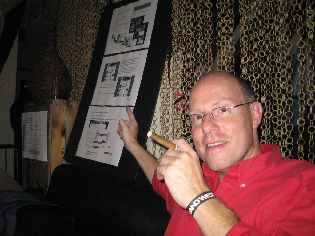 Rudolph trots op een workshop sheet en de activiteiten van het online team. Toen nog een 1 man band....
