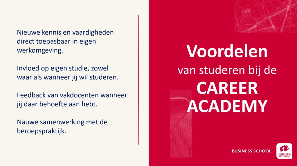 Voordelen van flexibel onderwijs aan de Career Academy.