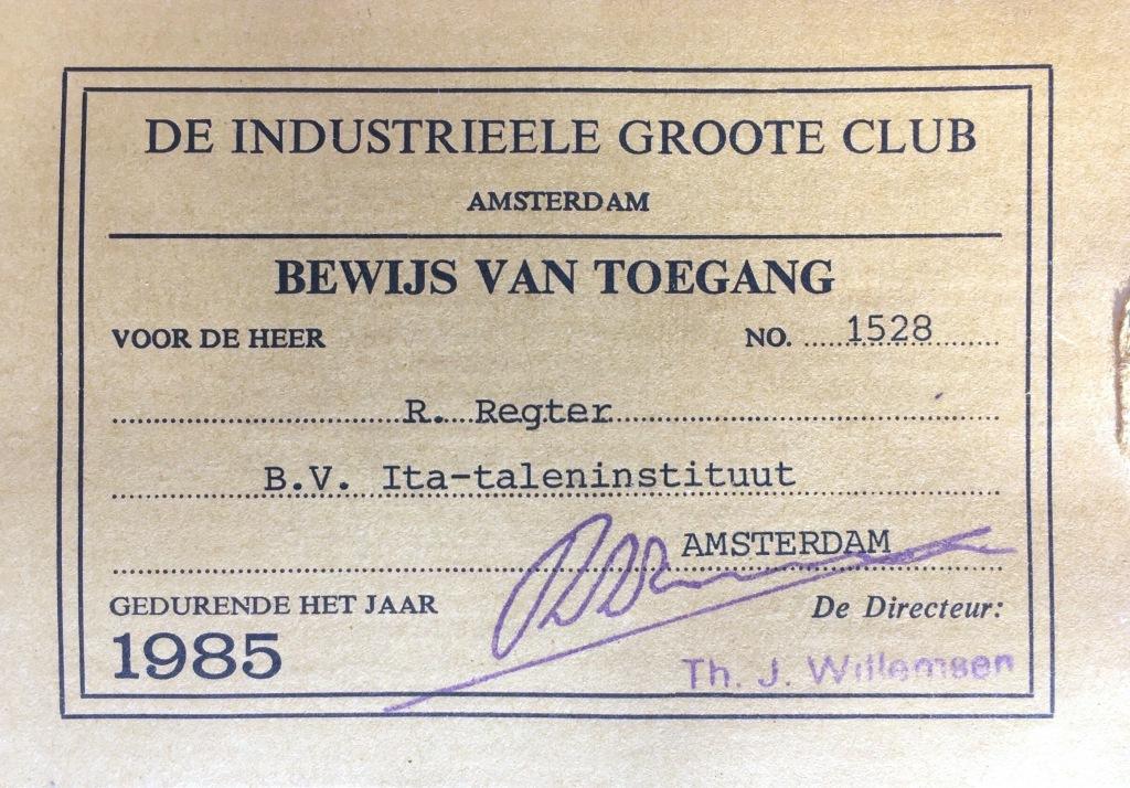 Industrieele Grootte Club bewijs van toegang.
