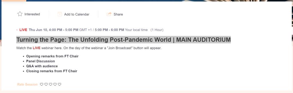 Screendump van FT event Turning the Page